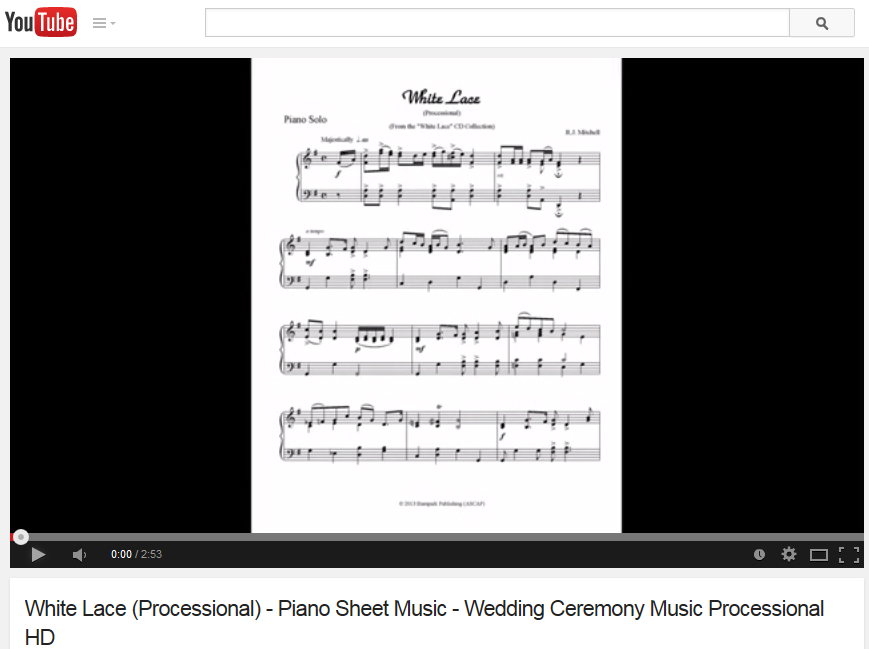 """Click image to watch the """"White Lace"""" (processional) piano sheet music video."""