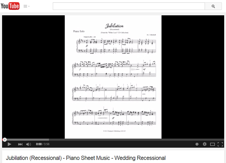 """Click image to watch the """"Jubilation"""" (Recessional) piano sheet music video."""