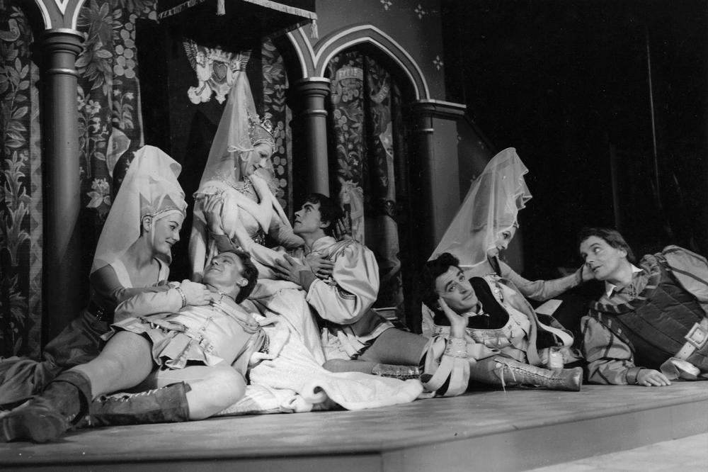 17_John Cairney as  King Humanitie in 'The Thrie Estaites', Edinburgh Festival 1959.jpg
