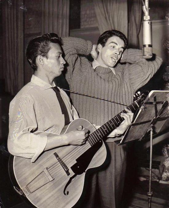 3_John Cairney recording with Sammy San, HMV c1956.jpg