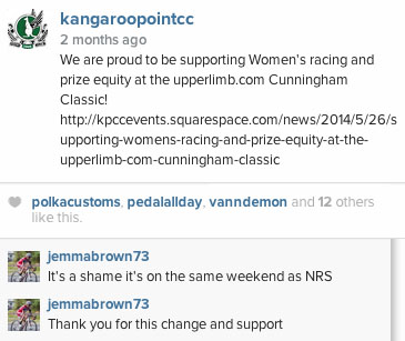 Jemma Brown, a Queensland based advocate for Women, former 1st unplaced Woman at the Cunningham Classic and professional National Road Series cyclist from the Holden Women's Cycling Team thanks the Club for the change and support (even if she will miss this years race due to a conflicting NRS event)!