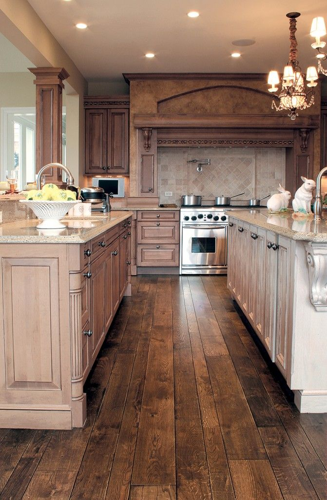 30 stunning kitchen designs style estate for Wood floors in kitchen