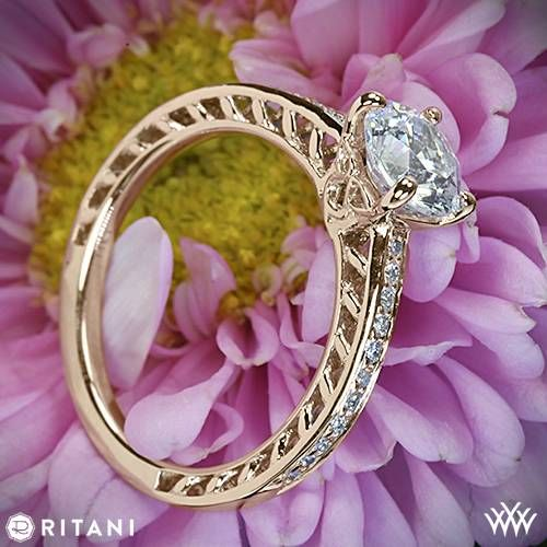 18k Rose Gold Ritani Lattice Micropave Diamond Band Engagement Ring  ~   How To Select The Perfect Diamond Engagement Ring - Style Estate -