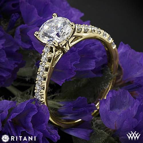 18k Yellow Gold Ritani French-Set Diamond Band Engagement Ring  ~   How To Select The Perfect Diamond Engagement Ring - Style Estate -
