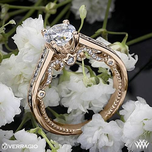 20k Rose Gold Verragio Beaded Channel-Set Diamond Engagement Ring ~ How To Select The Perfect Diamond Engagement Ring - Style Estate -