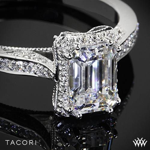 Platinum Tacori Dantela Crown for Emerald Diamond Engagement Ring  ~   How To Select The Perfect Diamond Engagement Ring - Style Estate -