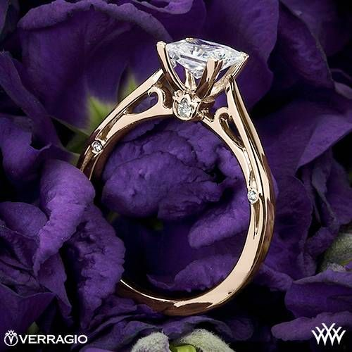 20k Rose Gold Verragio 4 Prong Princess Solitaire Engagement Ring ~ How To Select The Perfect Diamond Engagement Ring - Style Estate -