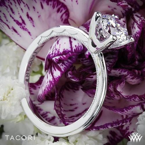 Platinum Tacori Sculpted Crescent Millgrain Solitaire Engagement Ring ~ How To Select The Perfect Diamond Engagement Ring - Style Estate -