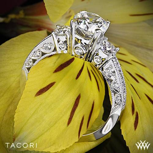 18k White Gold Tacori Classic Crescent Illuminate Three Stone Engagement Ring  ~   How To Select The Perfect Diamond Engagement Ring - Style Estate -