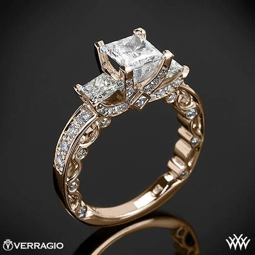 20k Rose Gold Verragio Bead-Set Princess 3 Stone Engagement Ring  ~   How To Select The Perfect Diamond Engagement Ring - Style Estate -