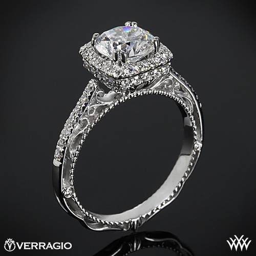 18k White Gold Verragio Cushion Halo Bloom Diamond Engagement Ring  ~   How To Select The Perfect Diamond Engagement Ring - Style Estate -