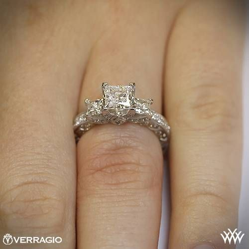 18k White Gold Verragio Bead-Set Princess 3 Stone Engagement Ring ~ How To Select The Perfect Diamond Engagement Ring - Style Estate -