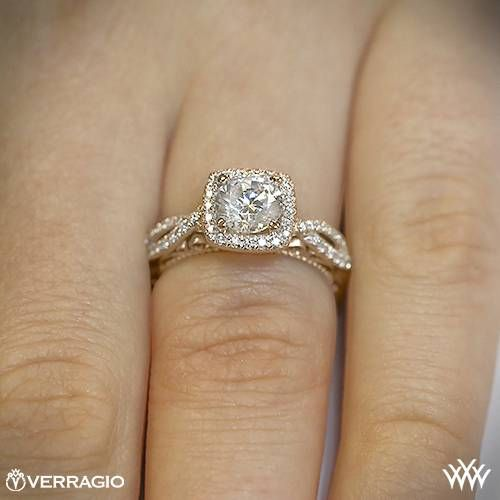 20k Rose Gold Verragio 4 Prong Cushion Halo Diamond Engagement Ring ~ How To Select The Perfect Diamond Engagement Ring - Style Estate -