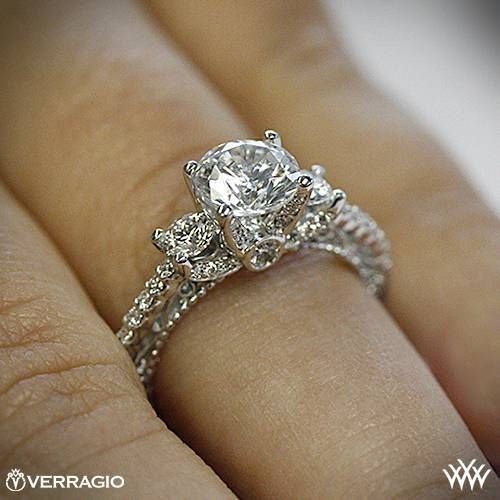 18k White Gold Verragio Beaded Shared-Prong 3 Stone Engagement Ring ~ How To Select The Perfect Diamond Engagement Ring - Style Estate -