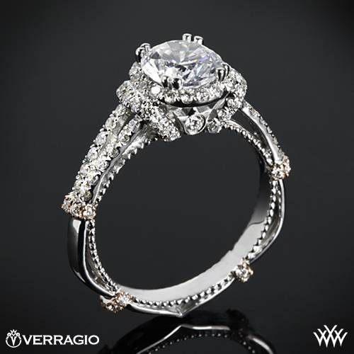 14k White Gold Verragio Dual Claw Split Shank Halo Diamond Engagement Ring  ~   How To Select The Perfect Diamond Engagement Ring - Style Estate -