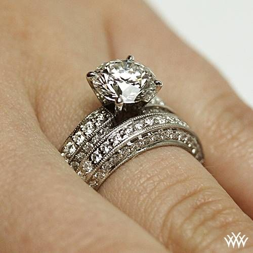 18k White Gold with Platinum Head Three-Side Pave Diamond Engagement Ring & Wedding Ring  ~   How To Select The Perfect Diamond Engagement Ring - Style Estate -