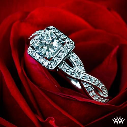 "Palladium ""Diamond Braid"" Diamond Engagement Ring  ~   How To Select The Perfect Diamond Engagement Ring - Style Estate -"