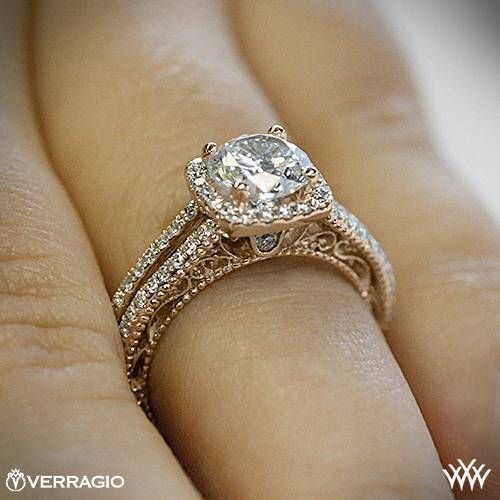 20k Rose Gold Verragio Split Shank Pave Diamond Engagement Ring  ~   How To Select The Perfect Diamond Engagement Ring - Style Estate -