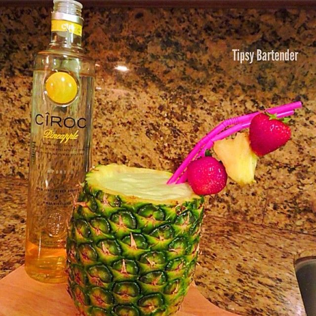 THE BABY MAKER ~ 1 1/2 oz. (45ml) Ciroc Pineapple Vodka, 1 oz. (30ml) Midori, 2 oz. (60ml) Pineapple Juice, 2 oz. (60ml) Cream of Coconut, Pineapple Chunks, Blend. ~ 25 Deliciously Naughty Cocktail Recipes - Style Estate -