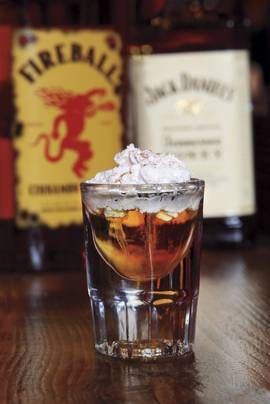 Hot Lil' Honey Shot. 1 oz. Jack Daniel's Tennessee Honey ½ oz. Fireball Cinnamon Whisky ½ oz. Frangelico whipped cream Method: Add ingredients to a shaker with ice. Shake and strain into a shot glass. Top with whipped cream and a drizzle of honey. ~ 25 Deliciously Naughty Cocktail Recipes - Style Estate -