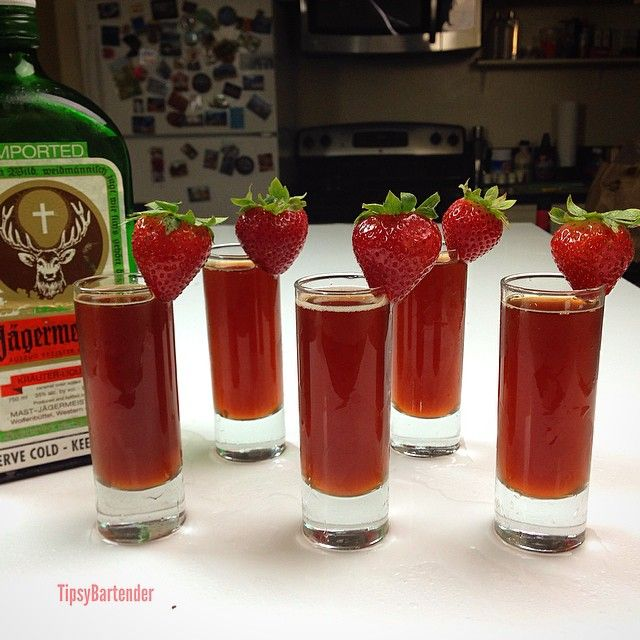 REDHEADED SLUT SHOT ~ 3/4 oz. (22ml) Jagermeister, 1/2 oz. (15ml) Peach Schnapps, 1 oz. (30ml) Cranberry Juice. ~ 25 Deliciously Naughty Cocktail Recipes - Style Estate -