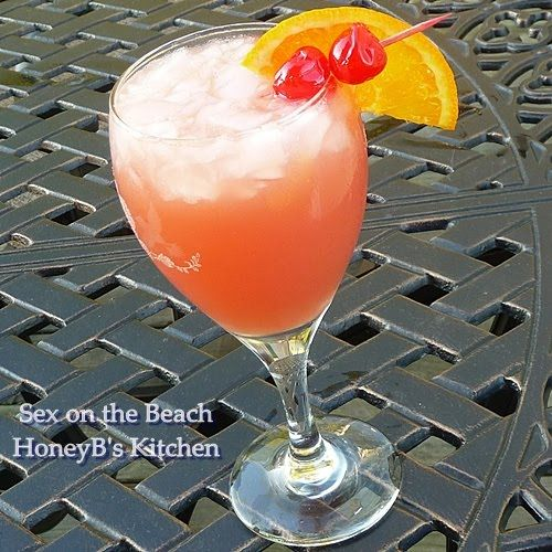 SEX on the Beach ~ 3 ounces orange juice (I buy Simply Orange pulp free), 3 ounces cranberry juice cocktail, 1 ounce vodka (we use Sky Vodka), 1 ounce peach schnapps, glass with crushed ice, Mix, stir, pour, enjoy! ~ 25 Deliciously Naughty Cocktail Recipes - Style Estate -