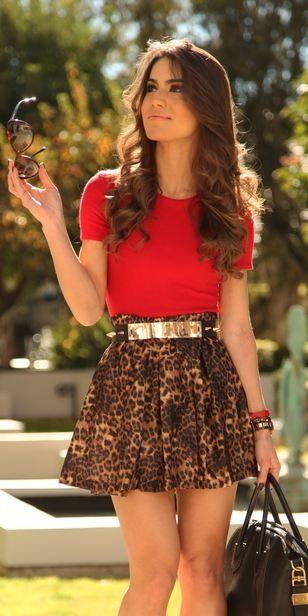 Leopard skirt + Red shirt + Gold accessories.  Via