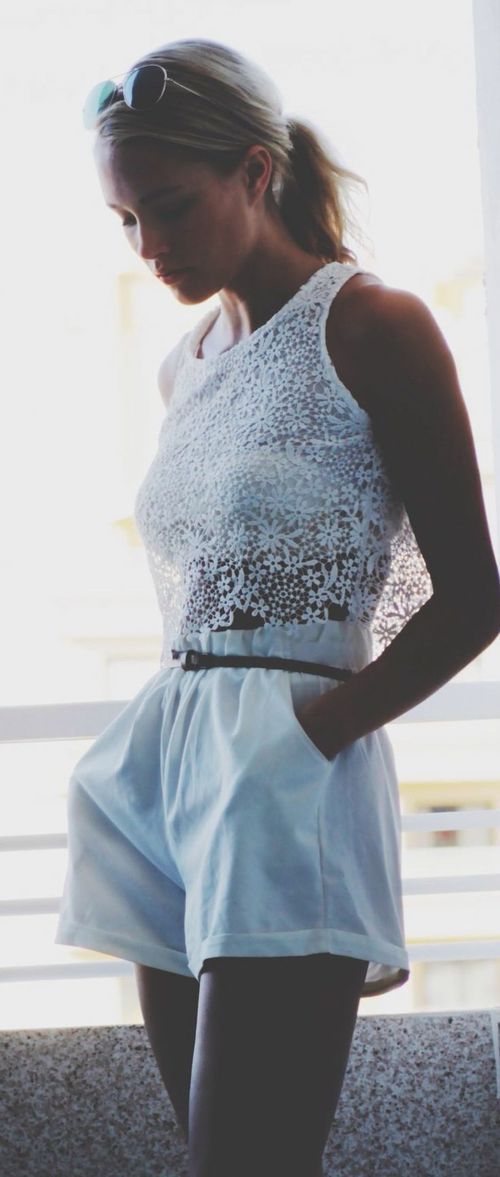 Sheinside White Sleeveless Lace Dipped Hem Vest by Petra Karlsson   Via