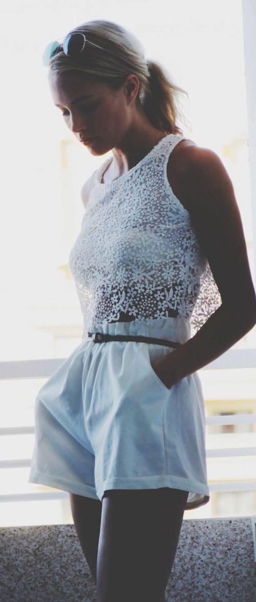 Sheinside White Sleeveless Lace Dipped Hem Vest by Petra Karlsson  Via