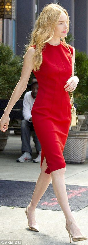 Kate Bosworth displays her long legs and lithe figure in elegant red dress. The 31-year-old was positively glowing as she displayed her lithe figure and long legs in the crimson frock.