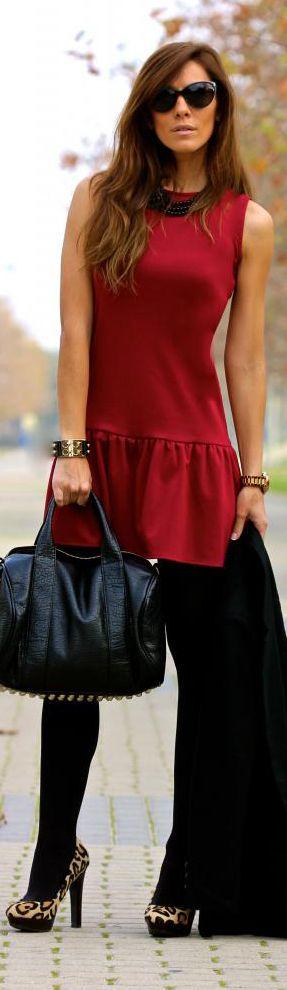 Red dress, black tights, leopard heels.