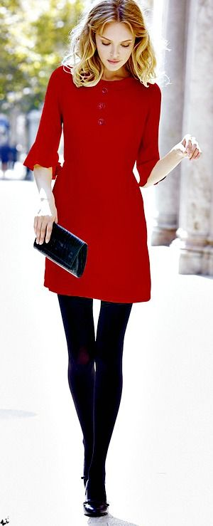 Red with black tights.