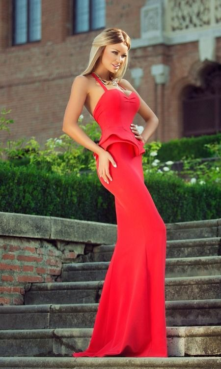 Sexy and elegant red dress.