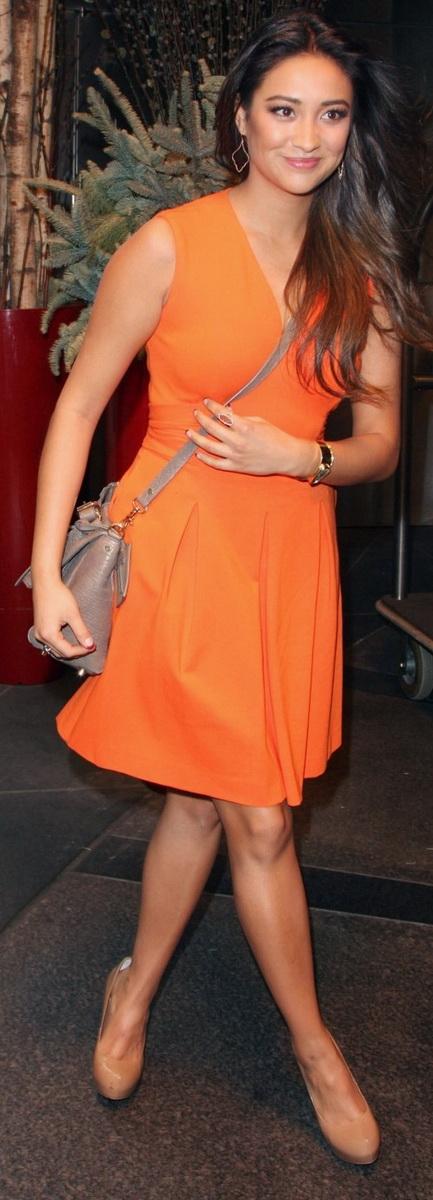 Shay Mitchell Orange Dress