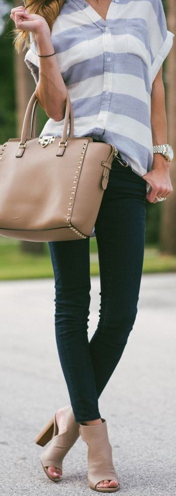 Casual striped top, taupe booties.