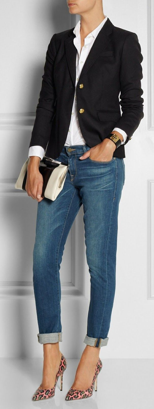 Office outfit | Boyfriend jeans, animal prints heels and blazer | Latest fashion trends
