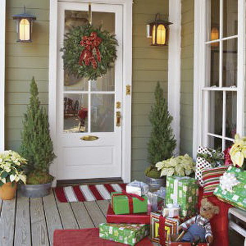 ust when you thought a wreath and red ribbon were the only things fit for your front entrance, along comes this creative twist. Go ahead. If you have a covered porch, capitalize on it because this area can serve as an extension of your decorated abode. But get ready: Passersby may feel inclined to stop and stay awhile! --Presents For Your Porch by Southern Living