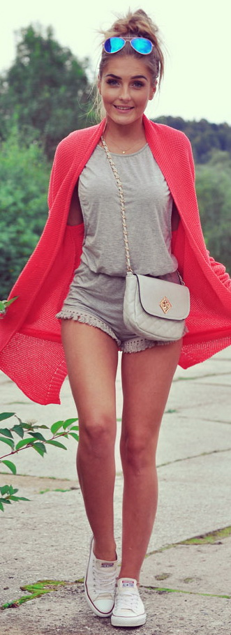Coral + Grey Outfit