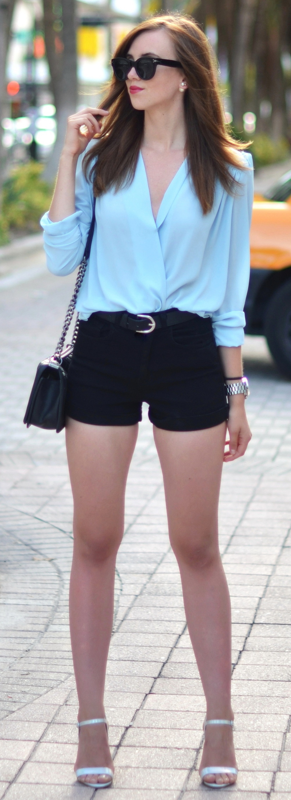 TFNC blouse via Edited // American Apparel shorts // Asos sandals // Chanel bag