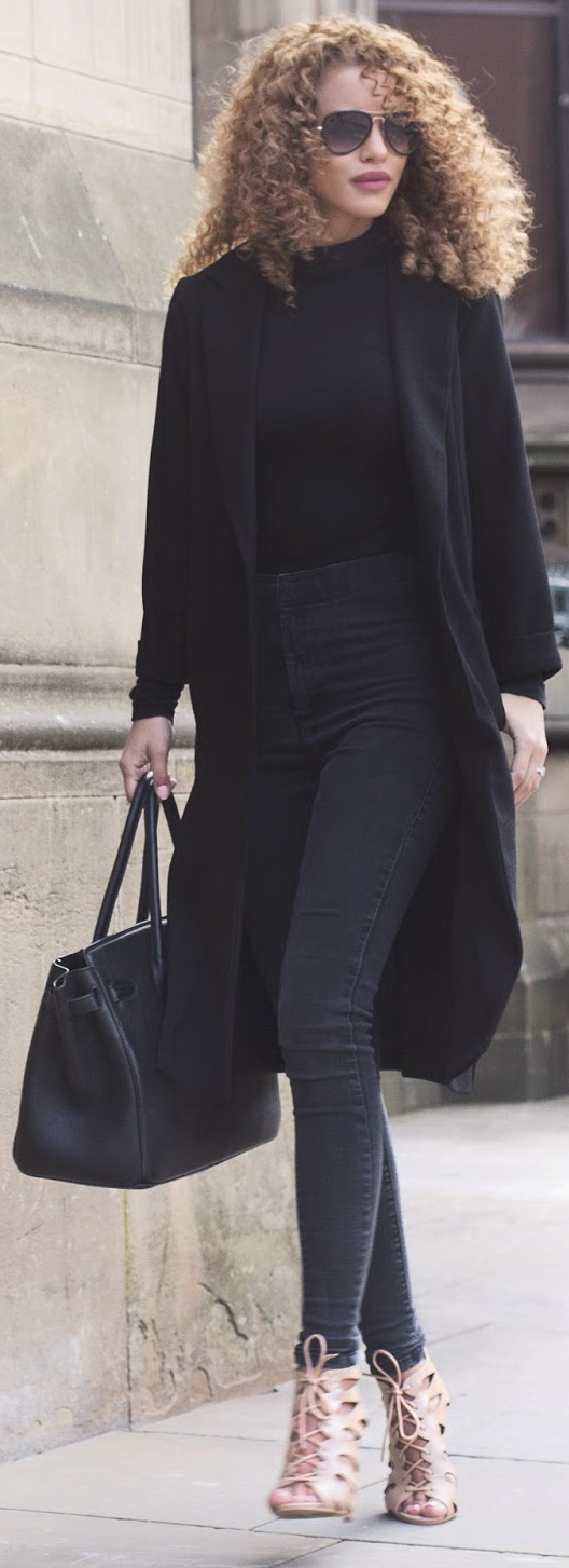 All Black Outfit + Nude Heels