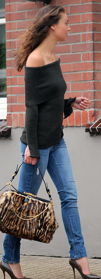 ZARA off-shoulder knit, DL1961 jeans, DUNE heels, RALPH LAUREN Collection bag