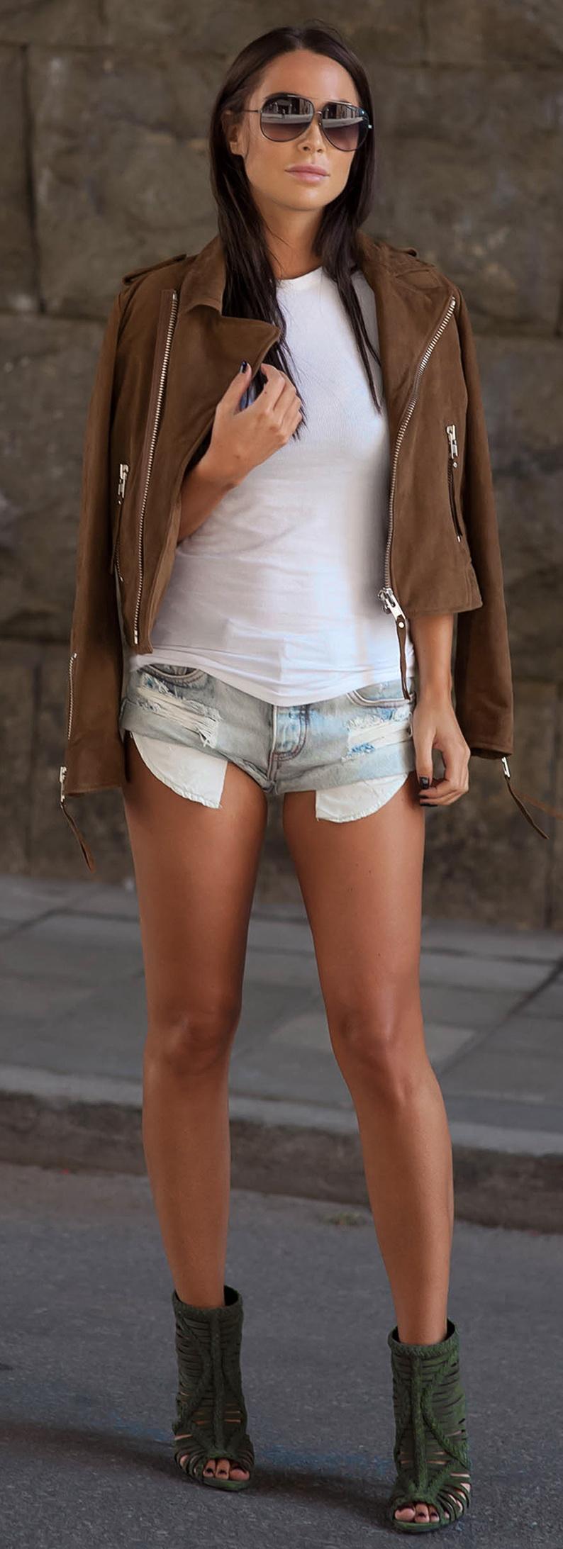 Shoes: SCHUTZ // Shorts: ONE TEASPOON // Sunglasses: DITA // Jacket: LXLS
