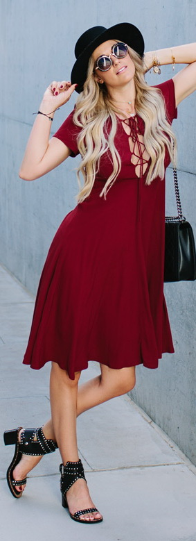Maroon Lace-Up Midi Dress