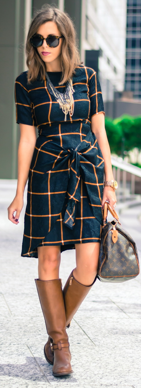 Dress + Riding Boots Fall Outfit