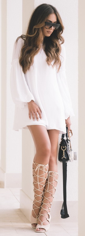 White Zara Dress + Chloe Sandals