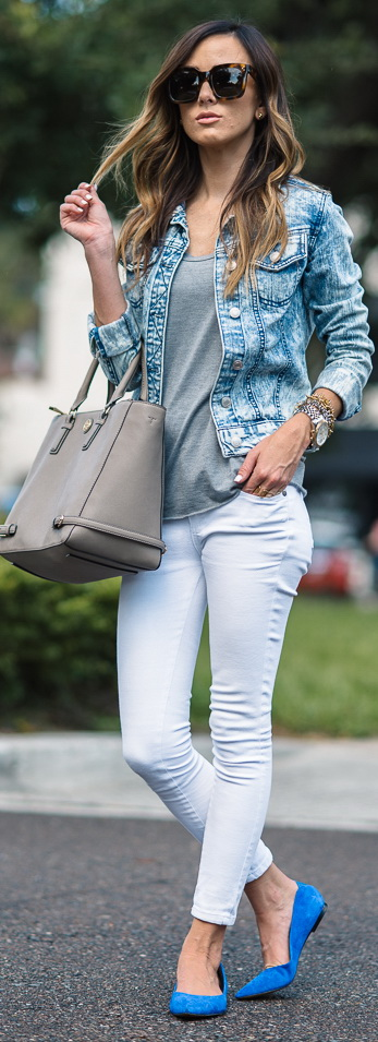 Paige Denim 'Verdugo' Ultra Skinny Jeans | Topshop Short Sleeve V-Neck Tee | Sam Edelman Rae Flats | Tory Burch Robinson Multi Tote | Target Acid Wash Jean Jacket