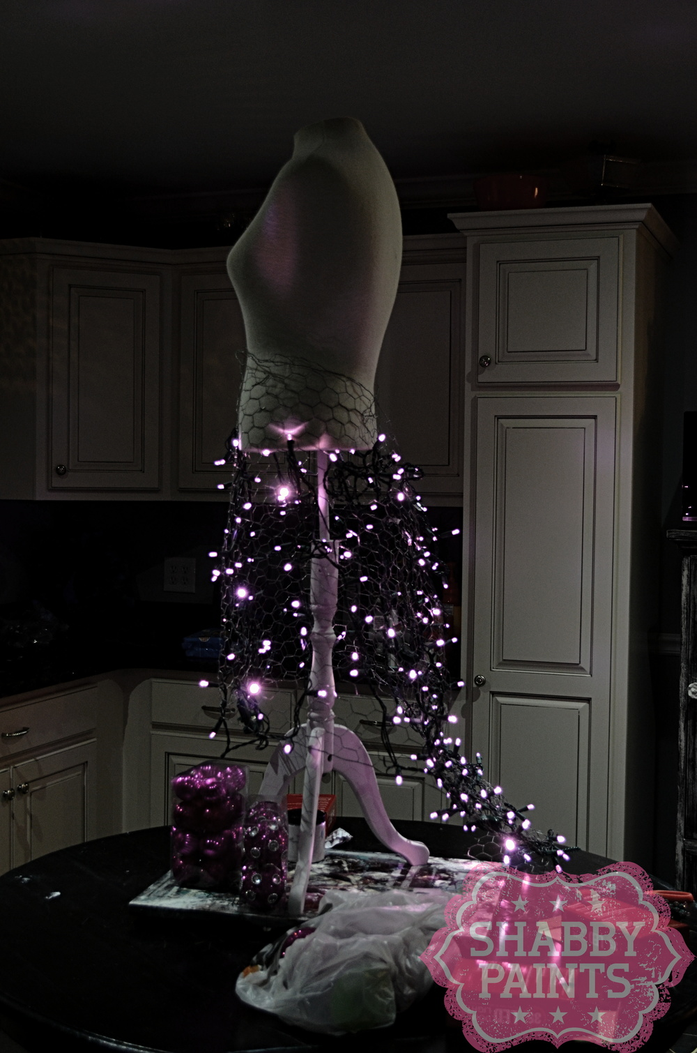 White Wire Christmas Tree Dress