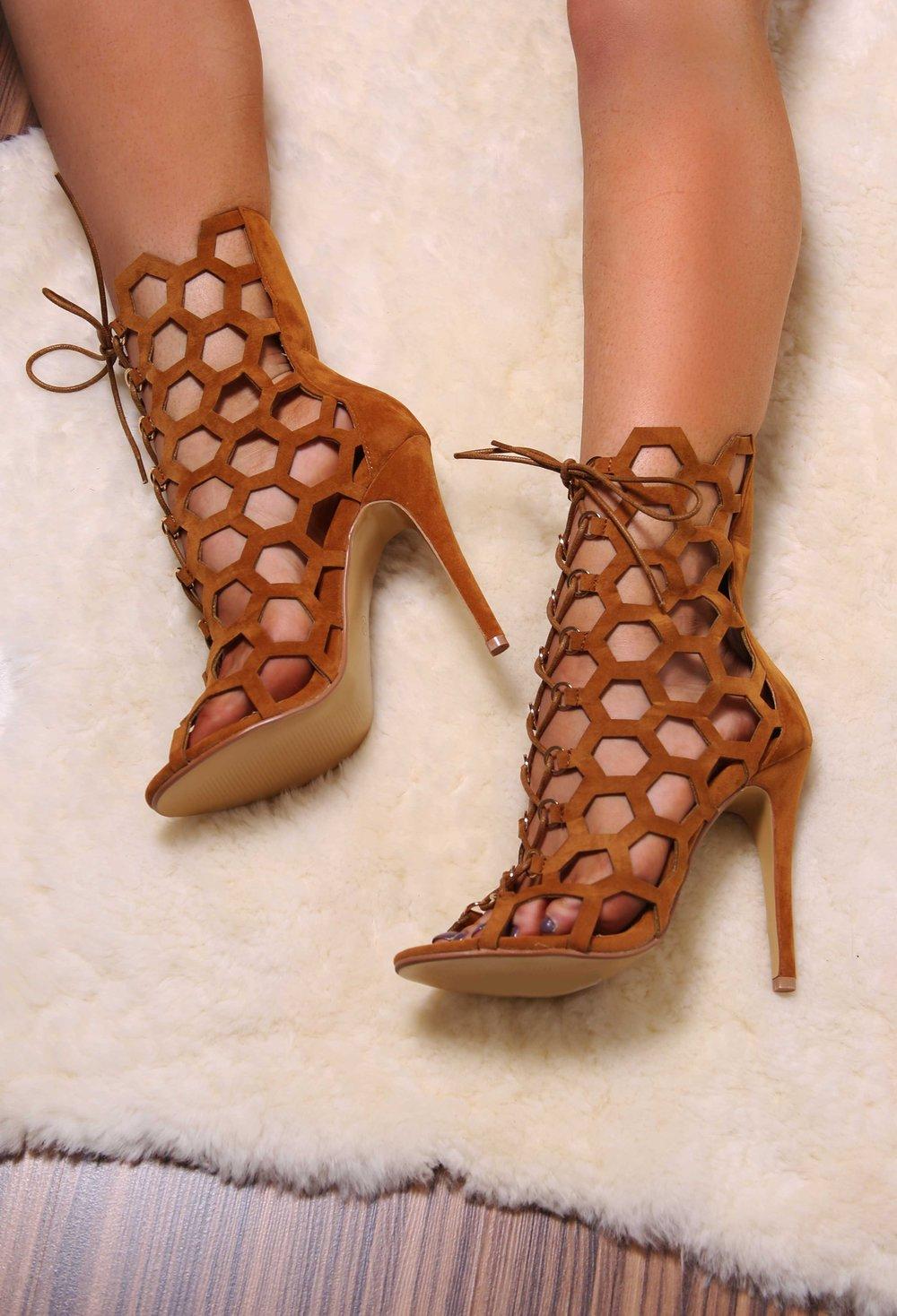 Bella Tan Cut Out Lace Up Heels