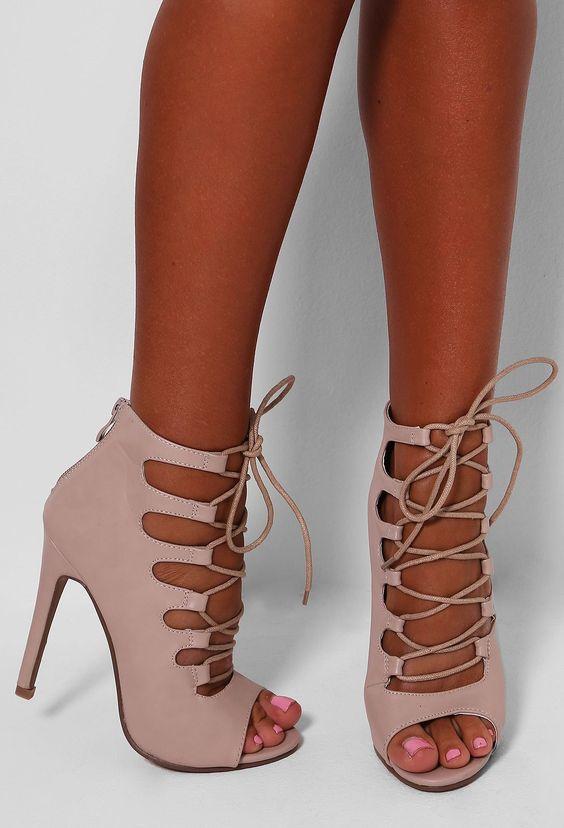 Monique Nude Leatherette Lace Up Heels