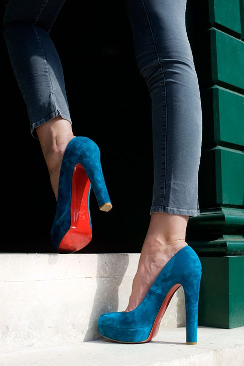 Louboutin Blue Suede Shoes